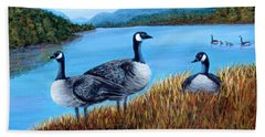 Bath Towel featuring the painting Canada Geese - Lake Lure by Fran Brooks