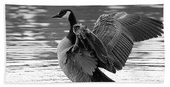 Canada Goose Black And White Bath Towel by Sharon Talson