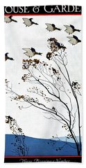 Canadian Geese Over Brown-leafed Trees Bath Towel