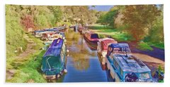 Bath Towel featuring the photograph Canal Barges by Paul Gulliver