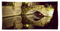 Canal Bridge Reflection Hand Towel