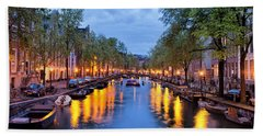 Canal In Amsterdam At Dusk Hand Towel