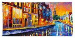 Canal In Amsterdam Hand Towel