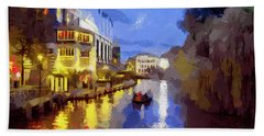 Bath Towel featuring the painting Water Canals Of Amsterdam by Georgi Dimitrov