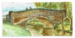 Bath Towel featuring the painting Canal-bridal Path In Staffordshire  by Teresa White