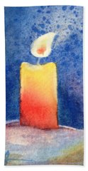 Candle Glow Hand Towel by Marilyn Jacobson