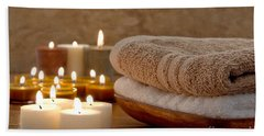 Candles And Towels In A Spa Bath Towel