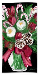 Bath Towel featuring the painting Candy Cane Bouquet by Jean Pacheco Ravinski