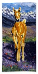 Hand Towel featuring the painting Candy Rocky Mountain Palomino Colt by Jackie Carpenter