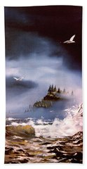 Hand Towel featuring the painting Cannon Beach Oregon by Craig T Burgwardt