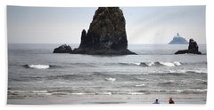 Cannon Beach Run Hand Towel by Sharon Elliott