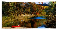 Hand Towel featuring the photograph Canoe On The Gasconade River by Steve Karol