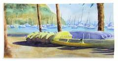 Canoes And Surfboards In The Morning Light - Catalina Bath Towel