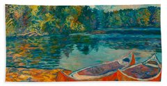 Bath Towel featuring the painting Canoes At Mountain Lake by Kendall Kessler