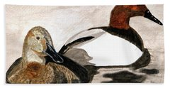 Canvasback Couple Bath Towel by Angela Davies