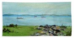 Cape Cod  Boats Bath Towel by Judith Rhue