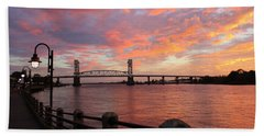 Bath Towel featuring the photograph Cape Fear Bridge by Cynthia Guinn