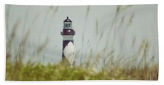 Cape Lookout Lighthouse - Vintage Hand Towel by Kerri Farley