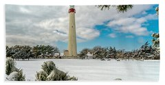 Cape May Light Thru Snowy Trees Hand Towel