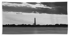 Cape May Lighthouse Sunset Panorama Bw Hand Towel
