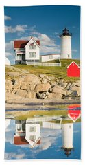 Cape Neddick Light  Reflections Hand Towel
