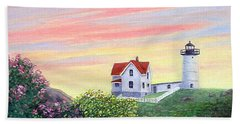 Hand Towel featuring the painting Cape Neddick Sunrise by Fran Brooks