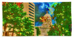 Capital - Jefferson City Missouri - Painting Bath Towel