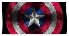 Captain America Shield Bath Towel by Georgeta Blanaru