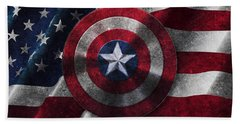 Captain America Shield On Usa Flag Bath Towel by Georgeta Blanaru