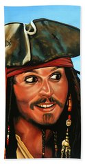 Captain Jack Sparrow Painting Hand Towel by Paul Meijering