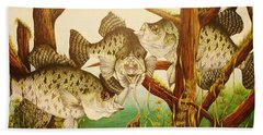 Hand Towel featuring the drawing Captivating Crappies by Bruce Bley