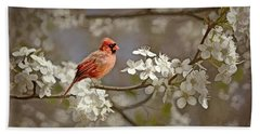 Cardinal And Blossoms Bath Towel