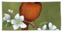 Hand Towel featuring the painting Cardinal And Dogwood by Fran Brooks