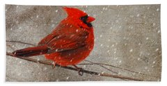 Cardinal In Snow Hand Towel by Lois Bryan