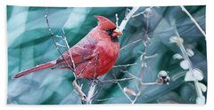 Cardinal In Winter Bath Towel by Joshua Martin