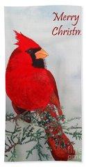 Cardinal Merry Christmas Bath Towel