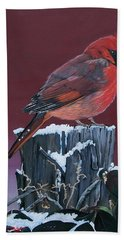 Cardinal Winter Songbird Hand Towel
