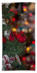 Bath Towel featuring the photograph Cardinals At Christmas by Patricia Babbitt