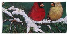 Cardinals In The Snow Hand Towel