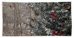 Cardinals In Winter 1 Square Bath Towel
