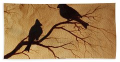 Cardinals Silhouettes Coffee Painting Bath Towel