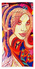 Hand Towel featuring the drawing Carnival Girl by Danielle R T Haney
