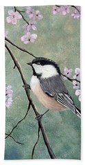 Bath Towel featuring the painting Carolina Chickadee by Fran Brooks