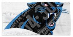 Carolina Panthers Football Team Retro Logo Recycled North Carolina License Plate Art Hand Towel by Design Turnpike