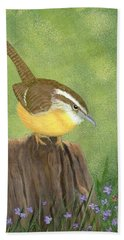 Hand Towel featuring the painting Carolina Wren by Fran Brooks