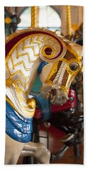 Bath Towel featuring the photograph Colorful Carousel Merry-go-round Horse by Jerry Cowart