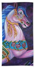 Bath Towel featuring the painting Carousel Horse by Michelle Joseph-Long