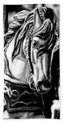 Carousel Horse Two - Bw Bath Towel