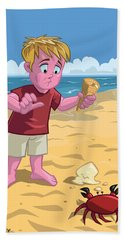 Bath Towel featuring the digital art Cartoon Boy With Crab On Beach by Martin Davey