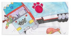 Cartoon Truck Lorry Bath Towel
